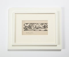 """Nell Blaine Black and White Ink Drawing on Paper """"Shooting Gallery"""", USA 1940s"""