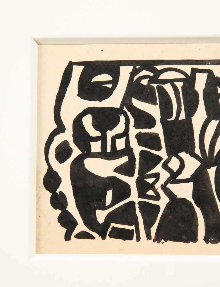 Nell Blaine Black and White Ink Drawing on Paper, USA, 1940s In Good Condition For Sale In New York, NY