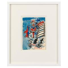 "Nell Blaine ""Merry Christmas"" Gouache on Paper, USA, 1940s"