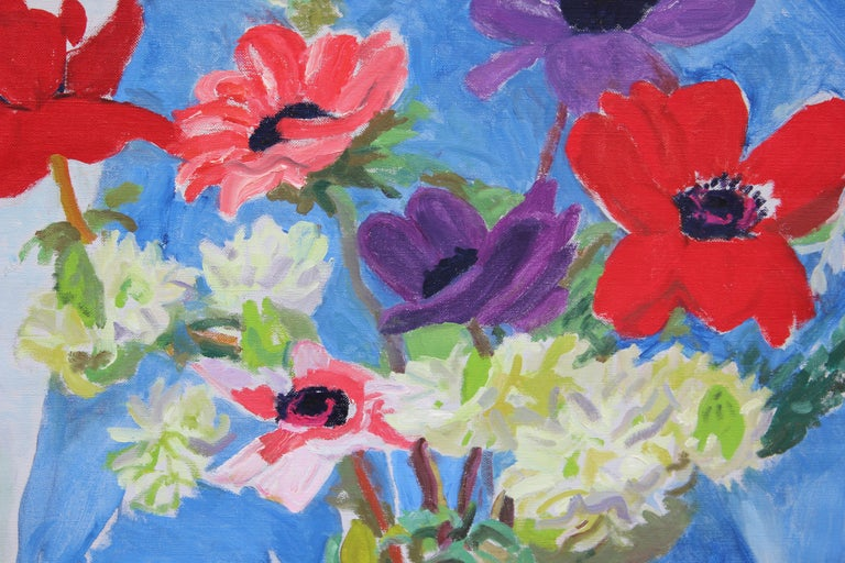 Anemones and Star of Bethlehem - Brown Still-Life Painting by Nell Blaine