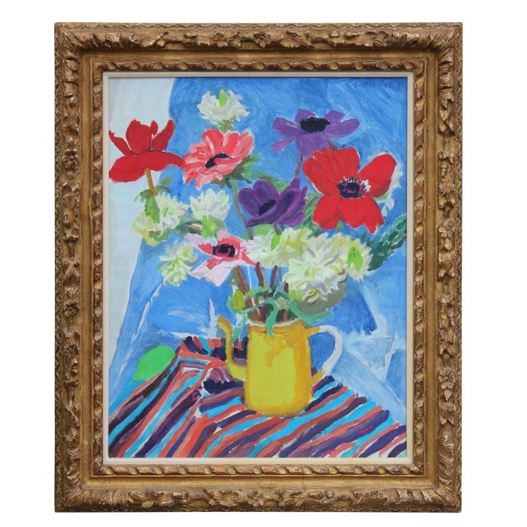 "Nell Blaine Still-Life Painting - ""Anemones and Star of Bethlehem"" Impressionist Still Life Painting"