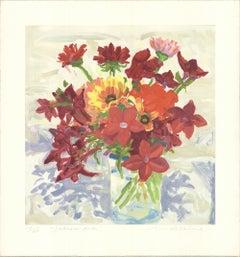 1994 Nell Blaine 'Jestina's Reds' Contemporary USA Lithograph