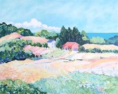 Pastel Landscape: Impressionist Farmhouse, Hand drawn Lithograph, Monet Style
