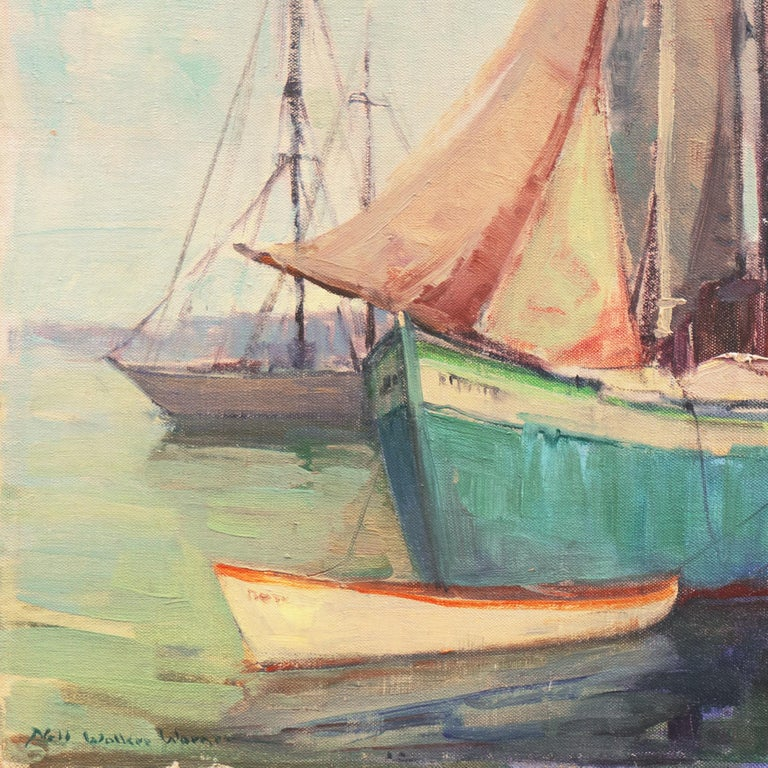 'Cape Ann Harbor', Woman Artist, Massachusetts, Rockport, Gloucester, LACMA - Impressionist Painting by Nell Walker Warner