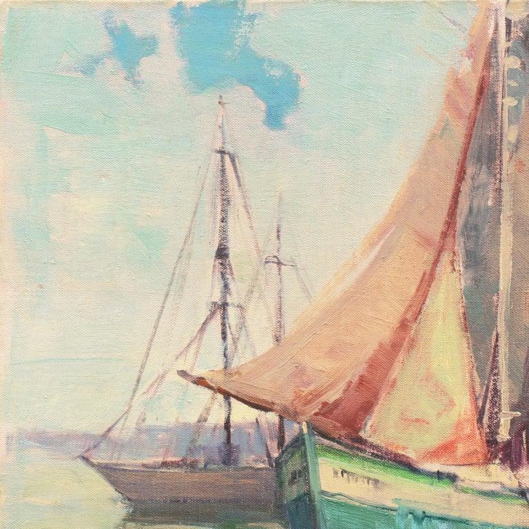 'Cape Ann Harbor', Woman Artist, Massachusetts, Rockport, Gloucester, LACMA - Beige Landscape Painting by Nell Walker Warner
