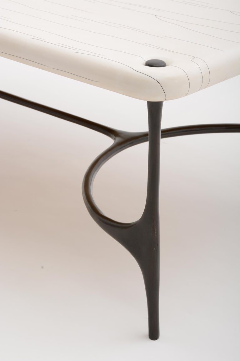 Modern Nella Coffee Table in Cast Bronze and Gesso from Elan Atelier  For Sale