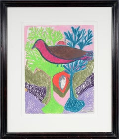 """""""Purple Partridge"""" by Nellie Mae Rowe, Paint, crayon and graphite on paper"""