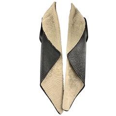NELLIE PARTOW Size XS Black & Beige Shearling Draped Lapel Vest