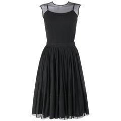 NELLY DE GRAB c.1950s Black Silk Chiffon 3pc Cap Sleeve Top & A Line Skirt Set