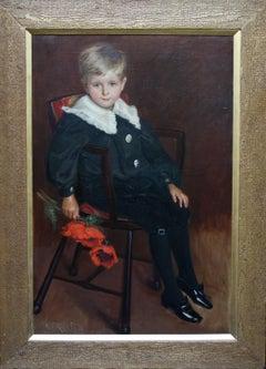 Poppies - British Victorian Portrait oil painting young boy flower female artist