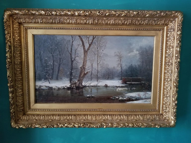 River in Winter - Painting by Nelson Augustus Moore