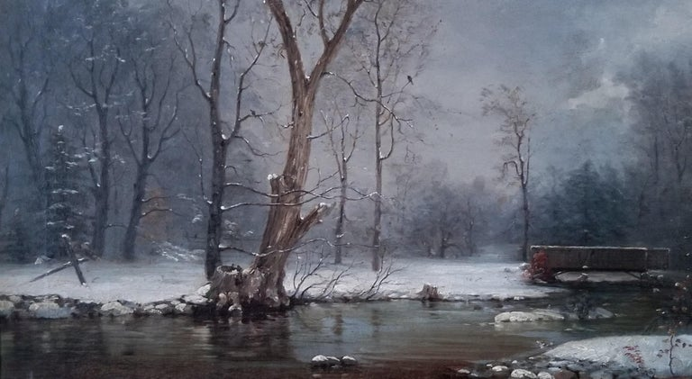 Nelson Augustus Moore Landscape Painting - River in Winter