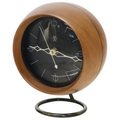 Nelson Chronopak Orb Round Ball Shape Turned Walnut Desk Clock