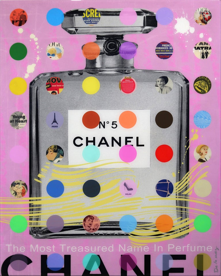 Nelson De La Nuez Still-Life Painting - Chanel #5 Pink with Grey Bottle (118/125)