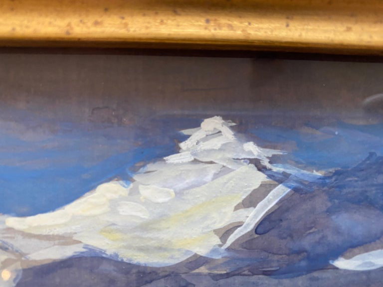 Painted from life, the Swiss Alps as viewed from Italy. Framed under glass, in a thick grey wooden frame. Dimensions framed: 12.5 x 19.25 inches  Nelson H. White was born in New London, Connecticut in 1932. White has been surrounded by art and