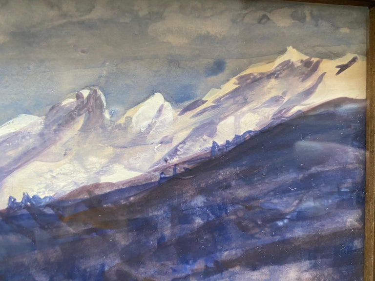 Painted from life, the Swiss Alps as viewed from Bever, Switzerland. White defys logic and create bold texture in this watercolor...notice the build up white on the mountain peaks.  Framed in a thick grey wooden frame, watercolor under