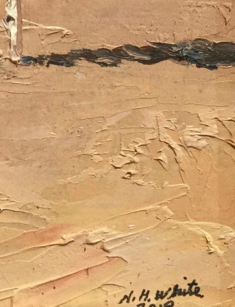 The Red Umbrella, October 2018 - Brown Landscape Painting by Nelson H. White