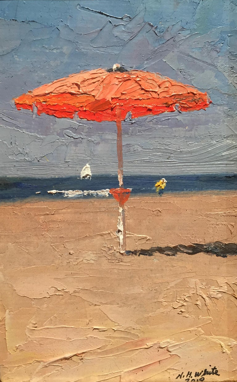 Nelson H. White Landscape Painting - The Red Umbrella, October 2018