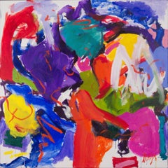 Hot  and Noisy-Strong Vivid Purple Blues and Red 60 X 60