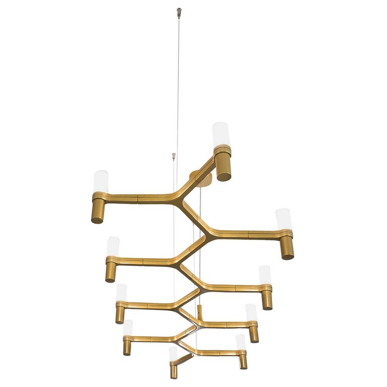 For Sale: Gold (Gold Painted) Nemo Crown Plana Linea Dimmable Pendant Chandeliers by Jehs + Laub