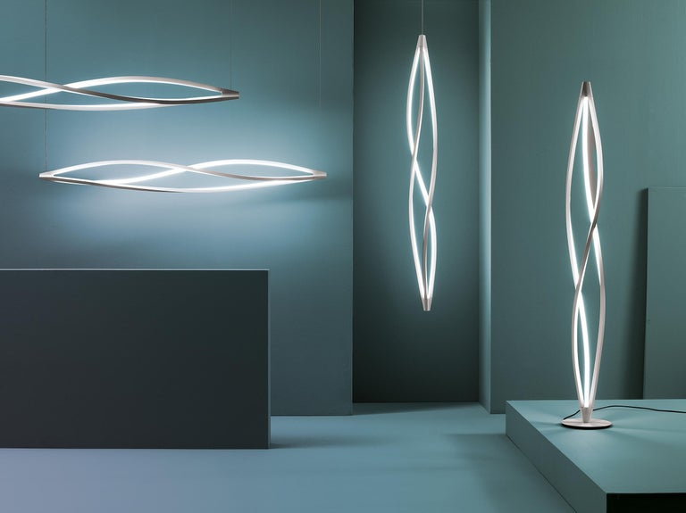 Aluminum Nemo in the Wind Floor Dimmable Lamp LED 2700k by Arihiro Miyake For Sale