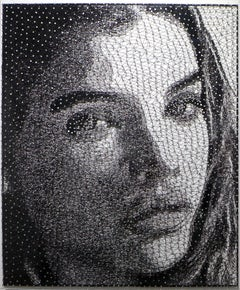 Innocence III - 21st Century, Contemporary, Portrait, Mixed Media, Thread, Nails