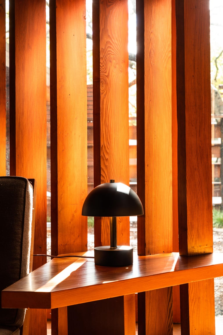 Mid-Century Modern 'Nena' Table Lamp in Black Metal and Wood by Alvaro Benitez For Sale