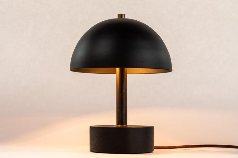 'Nena' Table Lamp in Black Metal and Wood by Alvaro Benitez For Sale 1