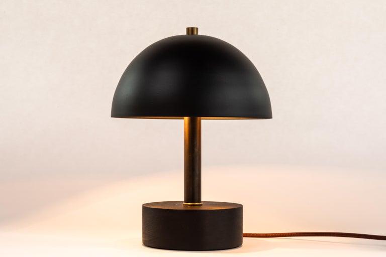 'Nena' Table Lamp in Black Metal and Wood by Alvaro Benitez For Sale 4