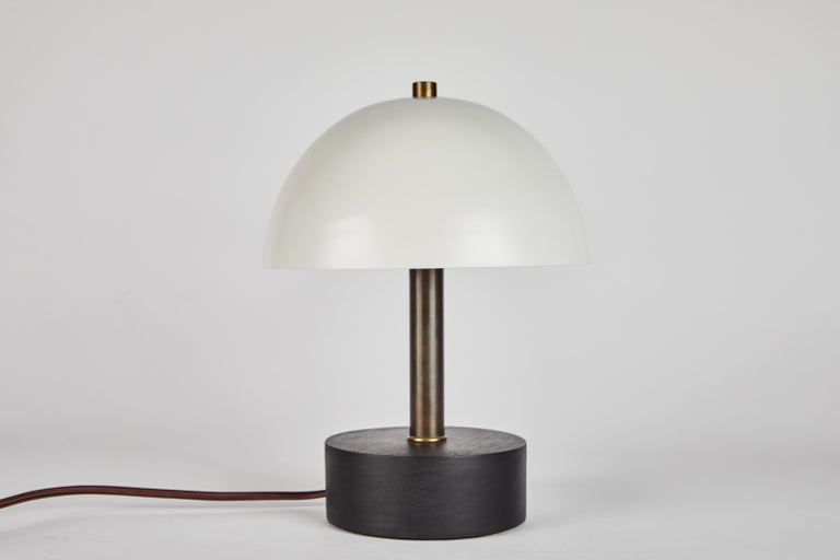'Nena' Table Lamp in White Metal and Wood by Alvaro Benitez For Sale 3