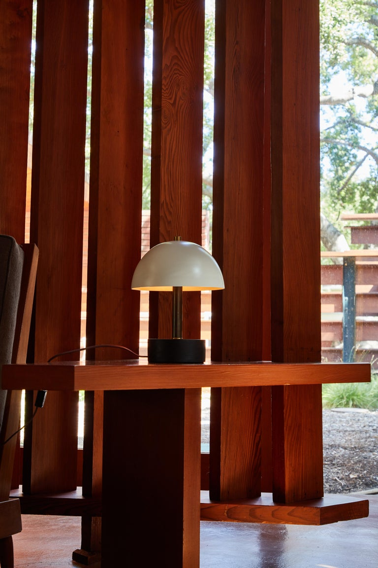 Mid-Century Modern 'Nena' Table Lamp in White Metal and Wood by Alvaro Benitez For Sale