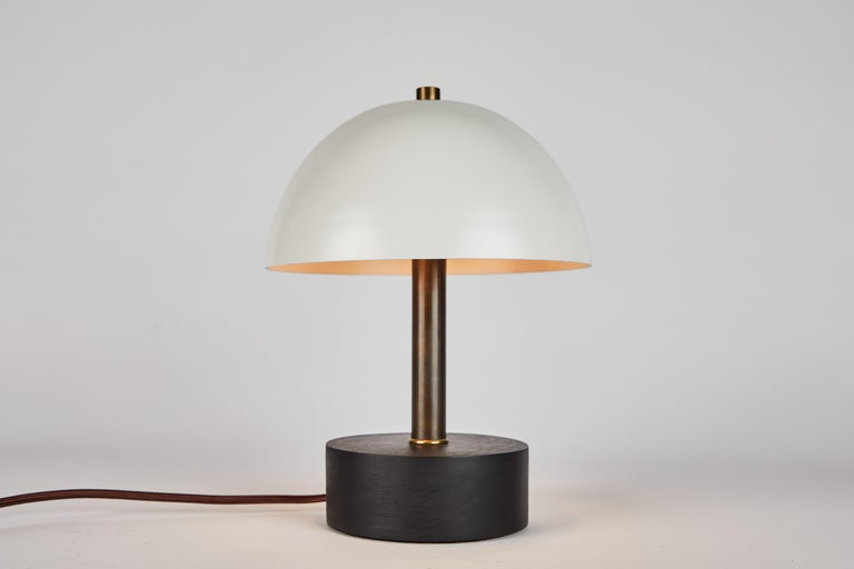 'Nena' Table Lamp in White Metal and Wood by Alvaro Benitez For Sale 2