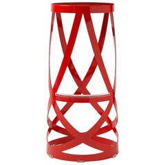 Nendo High Ribbon Stool in Red Metal with Matte Lacquer Finish for Cappellini