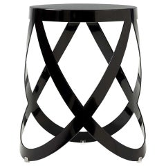 Nendo Low Ribbon Stool in Anthracite Metal with Matte Lacquer Finish, Cappellini
