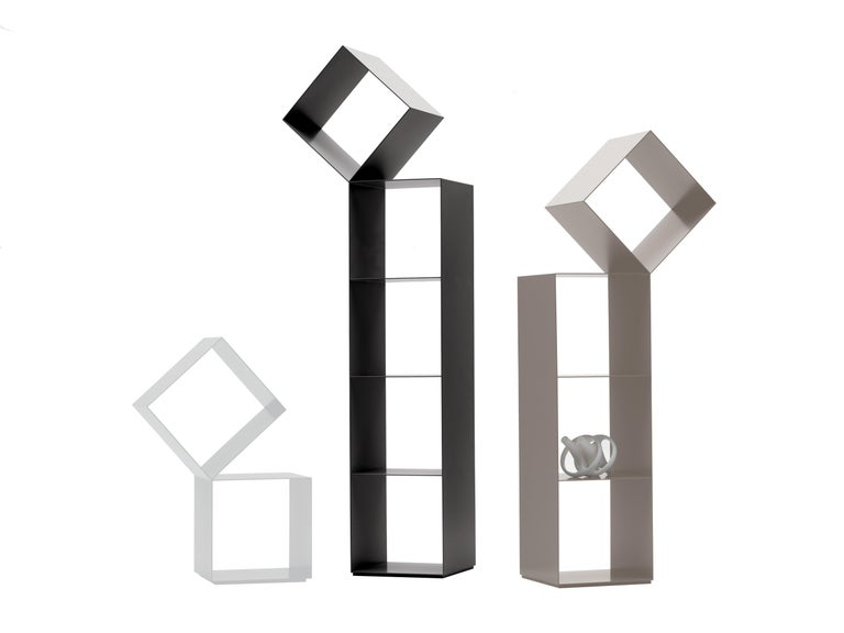 An ingenious challenge against the force of gravity, the Drop, by Nendo, is a two-sided column bookshelf offered in 3 different heights. The Drop bookshelves are made of Matte lacquered laser-cut sheet metal, available in a color palette that