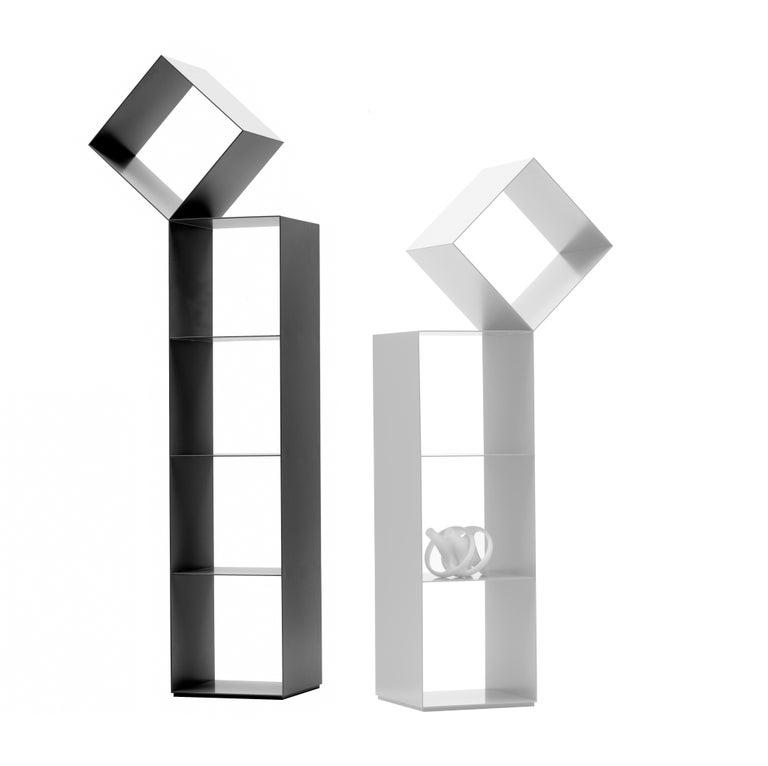 Modern Nendo Medium Drop Bookcase Matte Lacquered Laser-Cut Sheet Metal for Cappellini For Sale