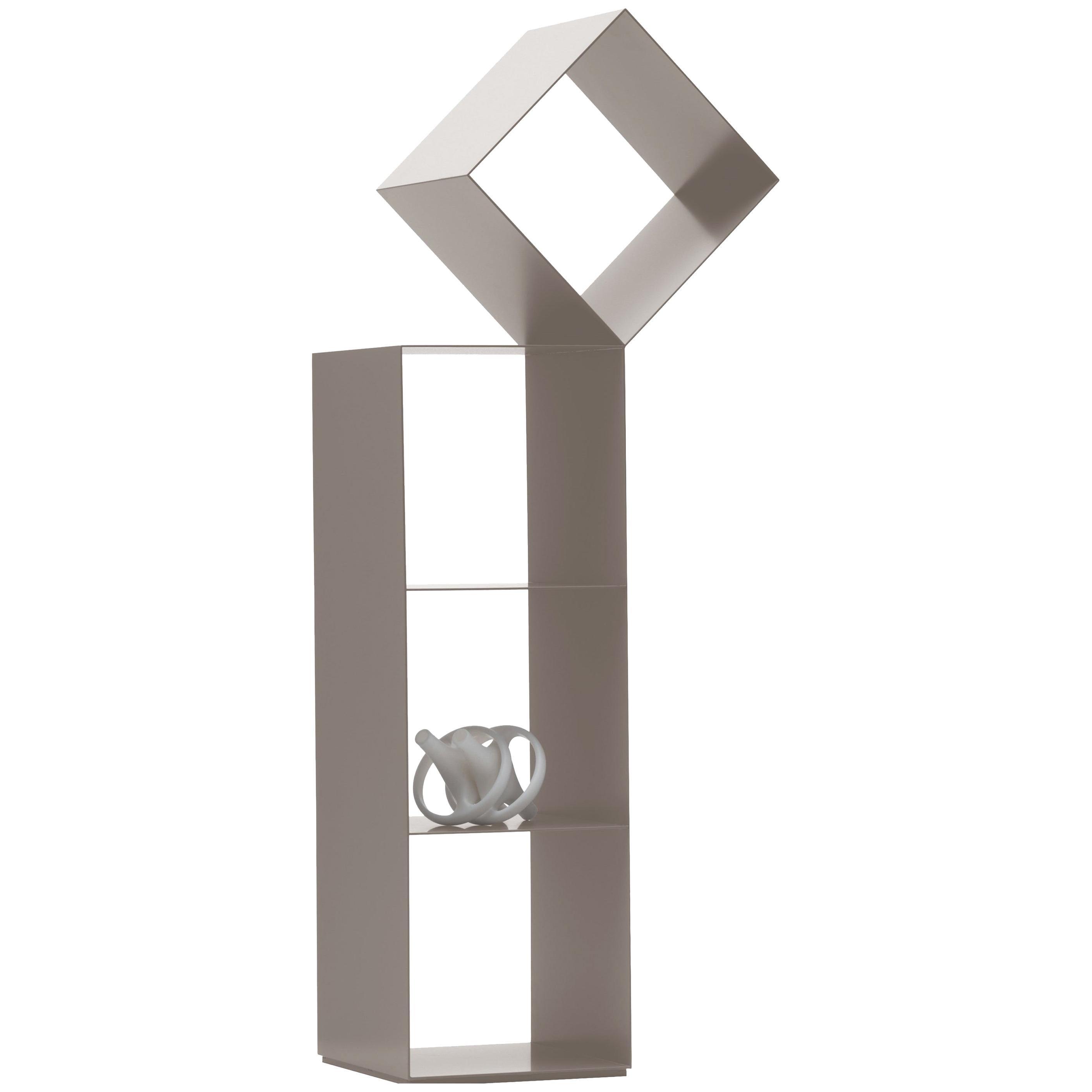 Nendo Medium Drop Bookcase Matte Mud Lacquered Metal Structure for Cappellini