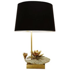 Nenuphar French Table Lamp in Brass and Bronze by Maison Charles, 1960s