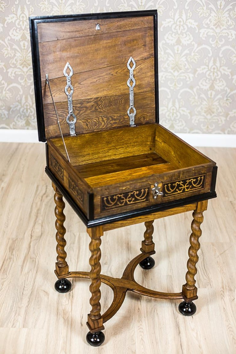 Neo-Baroque Oak Sewing Table, circa Late 19th Century For Sale 12