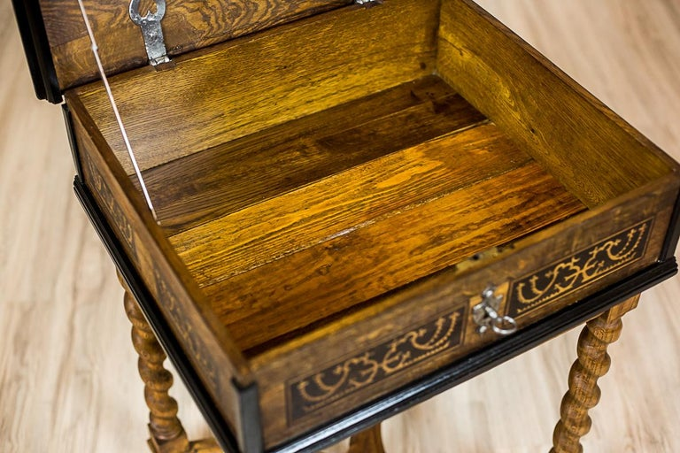 Neo-Baroque Oak Sewing Table, circa Late 19th Century For Sale 13