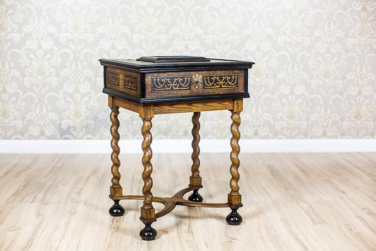 Baroque Revival Neo-Baroque Oak Sewing Table, circa Late 19th Century For Sale