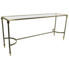 Neoclassic Steel and Brass Console in the Style of Maison Jansen