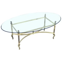 Neoclassical Brass Coffee Table, 1980s