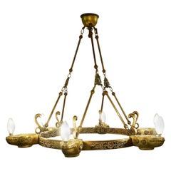 Neo Classical Bronze Crown Chandelier