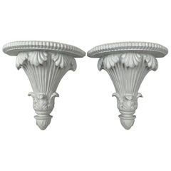 A pair of Neo-Classical Carved White Wall Brackets