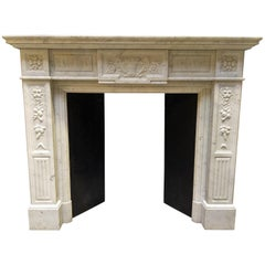 Neoclassical Fireplace in Carrara Marble, Late 19th Century