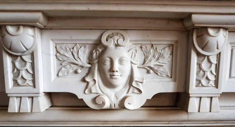 Neoclassical Revival CLASSICAL Fireplace Most Softened Carrara Marble For Sale