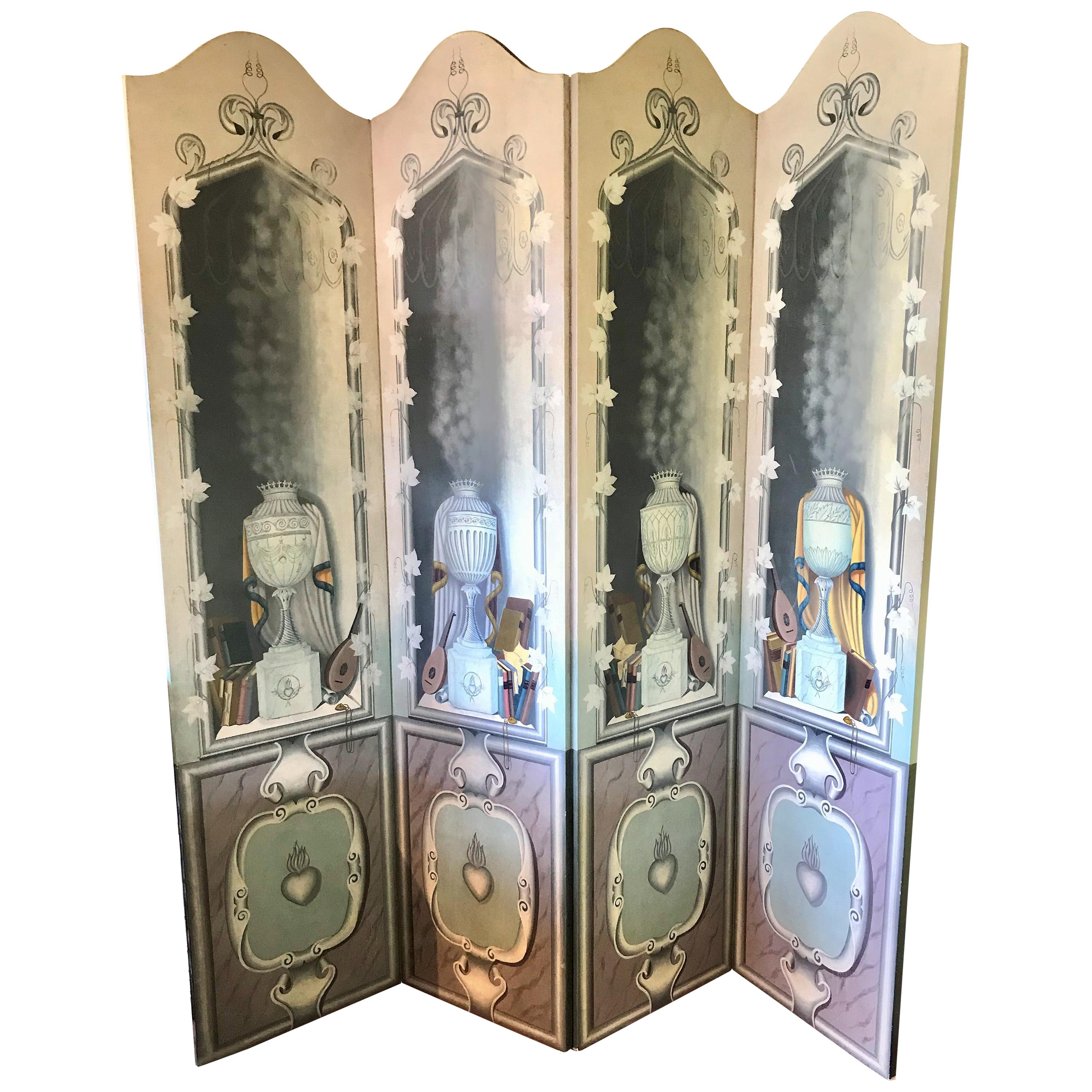 Neoclassical Maitland-Smith Hand Painted Four Panel Room Divider Screen