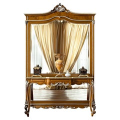 Neo-Classical Natural Walnut Finish Console with Silver Leaf Decorations