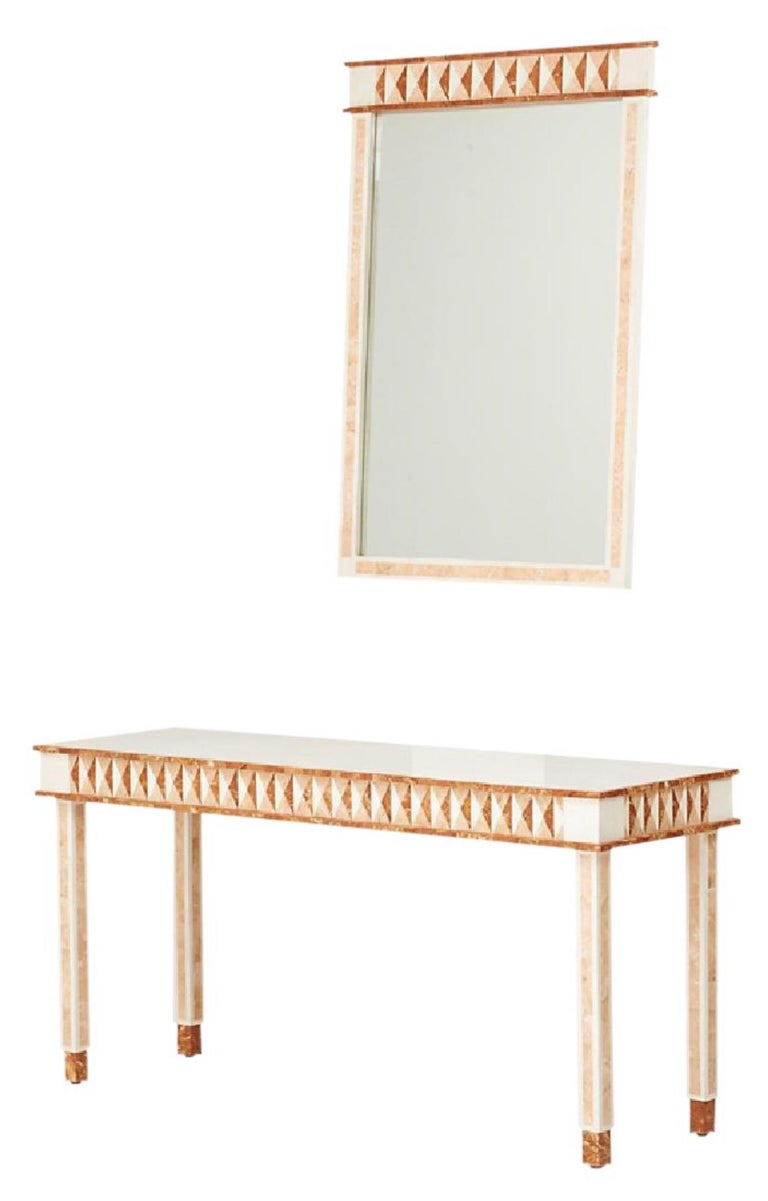 Neoclassical tessellated marble Maitland-Smith console table and wall mirror, 1980s